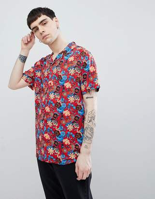 Night Addict Printed Rever Collar Short Sleeve Shirt-Red