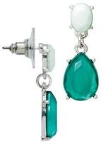 Women's Post Top Tear Drop Earrings with Cabochon - Mint/Silver