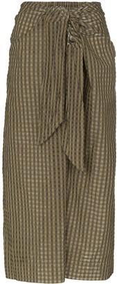Ganni Check Tie-Waist Midi Skirt