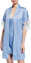 Natori Plume Lace-Trim Satin Short Robe