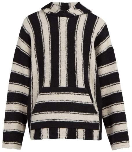 Amiri Baja Striped Wool Blend Hooded Sweater - Mens - Black