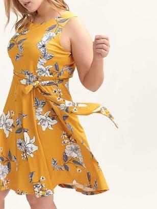 Crepe Fit & Flare Printed Scuba Dress