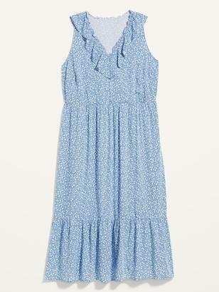 Old Navy Sleeveless Ruffled V-Neck Plus-Size Midi Swing Dress