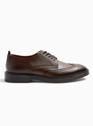 Topman Tan Real Leather Venice Brogue Shoes