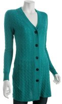 teal cable cashmere long cardigan
