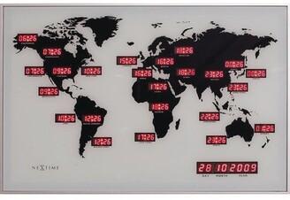 Overstock Unek Goods NeXtime World Time Digit Wall Clock, Rectangle, Aluminum, Black, LED, AC Adapter