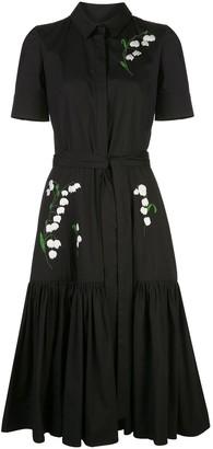 Carolina Herrera Floral Embroidery Shirt Dress