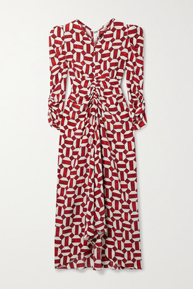 Isabel Marant Albi Ruched Printed Silk-blend Dress - Red