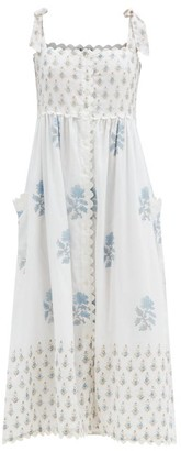 Juliet Dunn Floral-print Tie-shoulder Cotton Midi Dress - Blue White