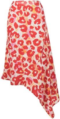 Marni Leopard Print Asymmetric Skirt