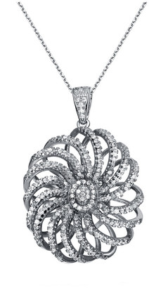 Genevive Silver Cz 3D Flower Necklace