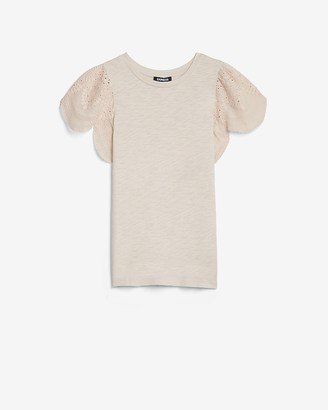 Express Eyelet Lace Sleeve Easy Tee