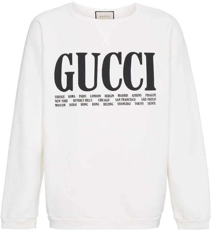 Gucci World Cities print cotton sweatshirt