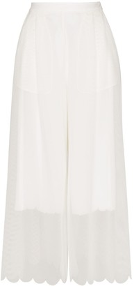 PASKAL clothes Wide-Leg Scallop Hem Culottes