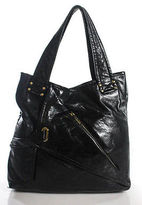 Kooba Black Leather Pleated Front Hobo Shoulder Handbag