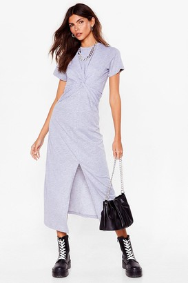 Nasty Gal Womens Oops You Twist Tee Maxi Dress - Grey
