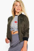 Boohoo Amber Zip Detail Bomber Jacket