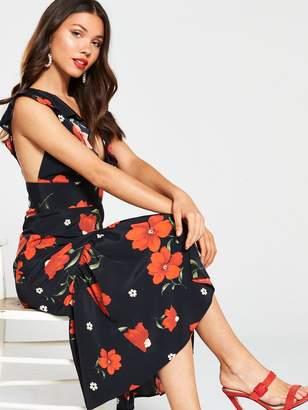 River Island Floral Print Frill Hem Midi Dress-black