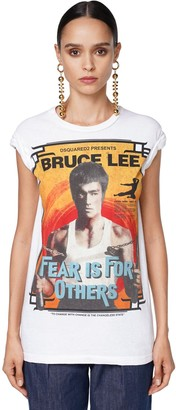 DSQUARED2 BRUCE LEE PRINT COTTON JERSEY T-SHIRT