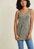 MDT1046F We're not messing around - when you slip this muted olive top over your frame, you'll be rocking wonderful folk-art florals! With a scoop neckline, an A-line silhouette, and a soft jersey knit, this ModCloth-exclusive tank gives you something to giggle ab
