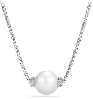 David Yurman Solari Pearl& Diamond Pendant Necklace
