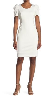 Calvin Klein Puffed Sleeve Sheath Dress