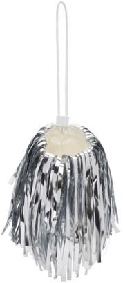 Off-White Off White Silver Mini Fringe Pompom Pouch
