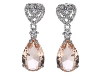A&M A & M Silver-Tone Pink Topaz Accent Pear Shaped Earrings