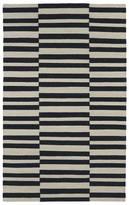 Tribeca Flatweave Black Stripes Wool Rug (5'0 x 8'0)