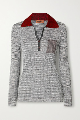 Missoni Color-block Ribbed Crochet-knit Sweater - Gray