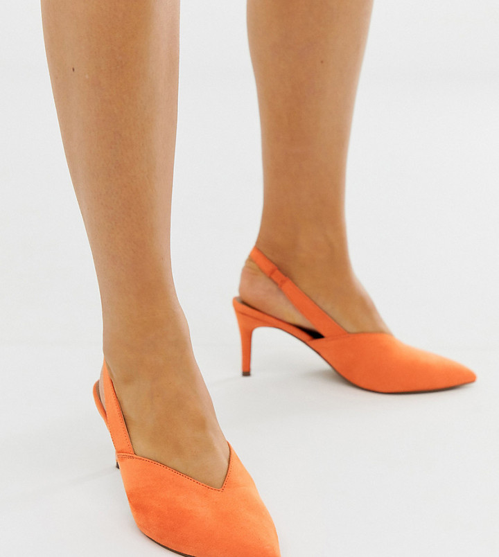 Asos Design DESIGN Wide Fit Savannah slingback kitten heels in orange