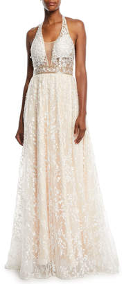 Jovani Halter-Strap Ball Gown in Lace