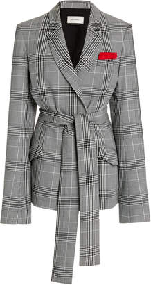 Hellessy Hambro Belted Plaid Double-Breasted Blazer