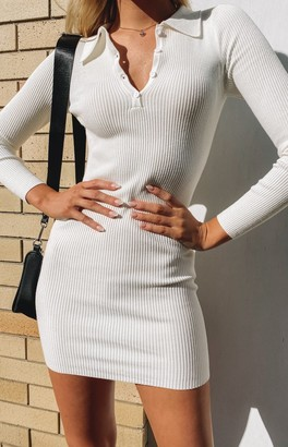 Beginning Boutique Underwood Collared Ribbed Dress White