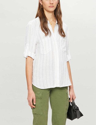 Bella Dahl Split-back striped woven shirt