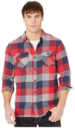Vans Box Long Sleeve Flannel (Racing Red/Dress Blues) Men's Clothing