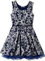Knitworks Girls 7-16 Flocked Pattern Skater Dress