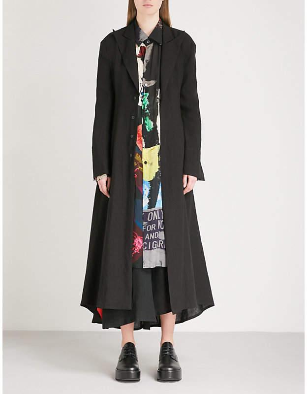 Yohji Yamamoto Open-back belted linen coat