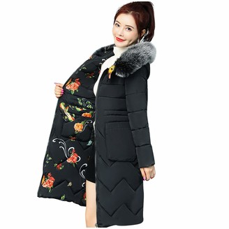 CUTUDU Women Long Padded Puffer Coat Winter Warm Cotton Quilted Jacket Parka with Removable Faux Fur Ladies Fashion Hood Print Double-Sided Outwear Hooded Sweater (Black 3XL)