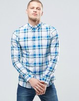 Farah Shirt In Madras Check In Blue Slim Fit