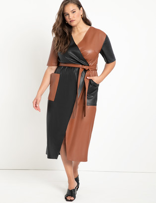 ELOQUII Colorblocked Faux Leather Wrap Dress