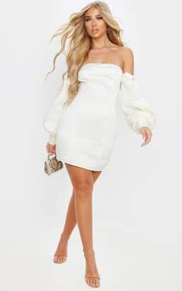 PrettyLittleThing Midnight Blue Satin Bardot Lace Sleeve Bodycon Dress