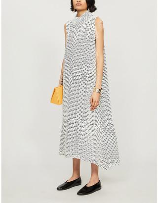Issey Miyake Graphic-print high-neck woven midi dress
