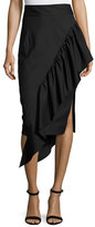 Milly Angelina Gabardine Cascading Ruffle Midi Skirt, Black