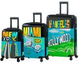 "Mia Toro Italy ""Destination USA"" 3-piece Polycarbonate Spinner Luggage Set"