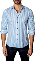 Jared Lang Textured Striped Cotton Button-Down Sportshirt