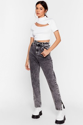 Nasty Gal Womens Acid Wash Out for Us Mom Jeans - Grey - 6