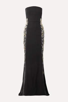 Reem Acra Embellished Tulle-trimmed Silk-crepe Gown - Black
