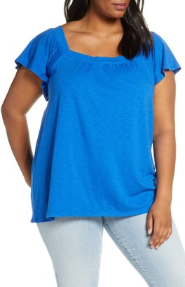 Gibson Square Neck Ruffle Sleeve Top (Plus Size)