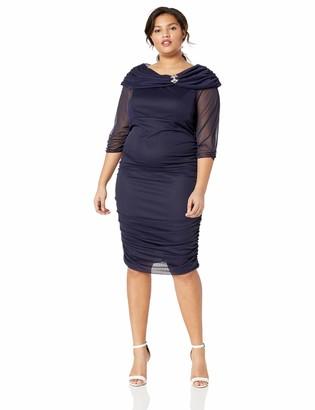 Alex Evenings Women's Plus-Size Midi Off-The-Shoulder Dress